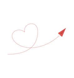 heart plane path love friendship concept paper vector image
