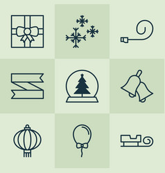 Holiday icons set collection of sled balloon vector