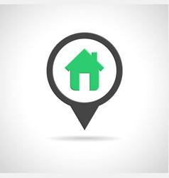 House icon as map pin concept vector