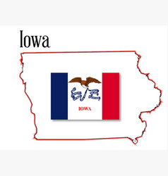 Iowa state map and flag vector