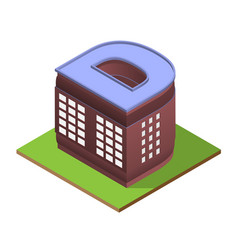 Isometric building letter d form vector