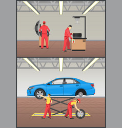 job with automobile fixing vector image