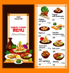 Korean cuisine dishes menu vector