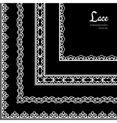 Lace corners set vector