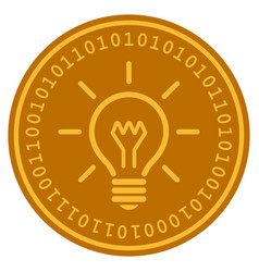 Light bulb digital coin vector