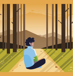 Man contemplating horizon in forest scene vector