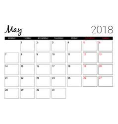 may 2018 printable calendar planner design vector image
