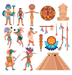 Maya culture elements set vector