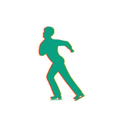 men figure skating isolated glitch icon vector image