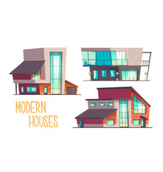 modern architecture houses cartoon set vector image