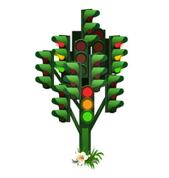 monument to the traffic light tree in russian city vector image