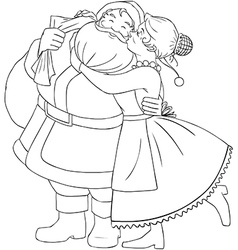 Mrs Claus Kisses Santa On Cheek And Hugs Coloring vector image