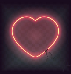 Neon heart sign on transparent background retro vector