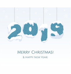 new year 2019 blue year number on white vector image