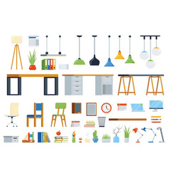 Office furniture accessories and plants creation vector