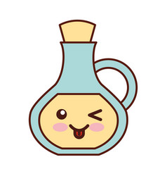 Oil jar spa bottle kawaii character vector