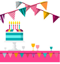 party background with flags and cake celebration vector image