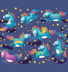 Pattern with cute unicorns in cartoon style vector