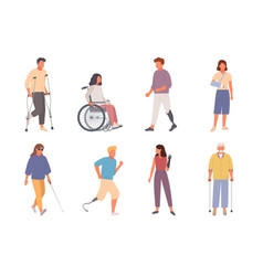 people with disabilities set man on crutches vector image
