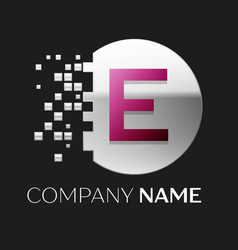 pink letter e logo symbol in silver pixel circle vector image