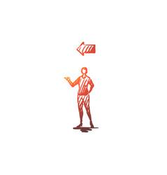 point woman gesture direction arrow concept vector image