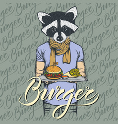 Raccoon with burger and french vector