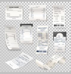 Realistic paper checks or payment bill on vector