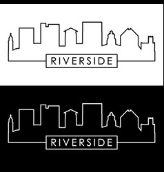 Riverside skyline linear style editable file vector