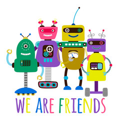 Robots print friendship concept vector