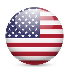 Round glossy icon of usa vector