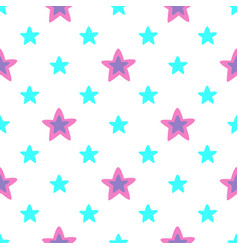 Seamless pattern with blue and pink stars vector