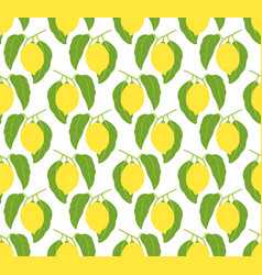 seamless pattern with lemons and leaves vector image