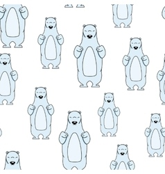 Seamless pattern with smiling polar bear vector
