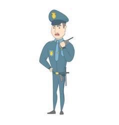 Security guard talking on walkie-talkie radio vector