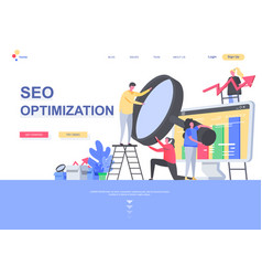 seo optimization flat landing page template vector image