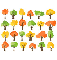 set of twenty four green yellow and red trees vector image