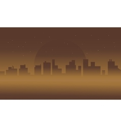 Silhouette of city in fog scenery vector