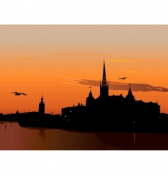 silhouette of Stockholm at sunset vector image
