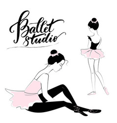 Silhouette of young ballerina vector