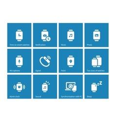 Smart Watch set icons on blue background vector