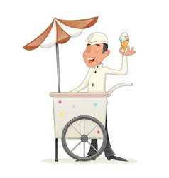 Smiling ice cream seller with cart retro vintage vector