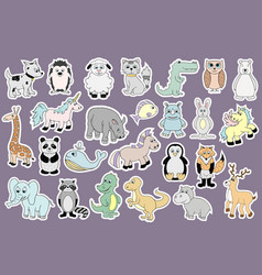 Stickers with baby animals cartoon vector