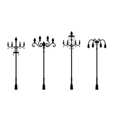 Street lamps in silhouette style vector