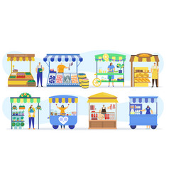 street shops stall market vendor booths and farm vector image