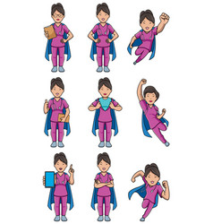 super nurse asian female set vector image