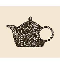 teapot of coffee beans vector image
