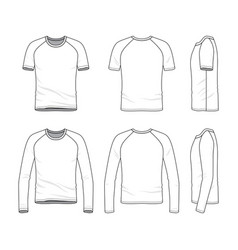 templates of blank t-shirt and tee vector image