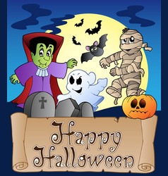 theme with happy halloween banner 4 vector image