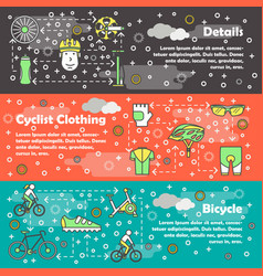 Thin line art bicycle banner template set vector