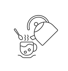 thin line cup and teapot vector image